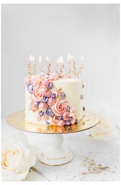 Elegant Birthday Cakes, Birthday Cake For Women Elegant, 22nd Birthday Cakes, White Birthday Cakes, Beautiful Birthday Cakes, Birthday Cakes For Women, Birthday Cake With Candles, Buttercream Birthday Cake, Cake Decorating Designs