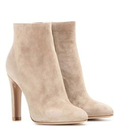 Gianvito Rossi beige Dana High Bootie suede ankle boots