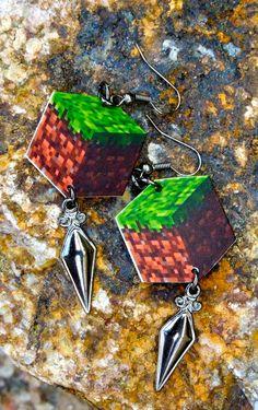 Cube  Minecraft earrings for girls by toolittlemonsters on Etsy, $8.00