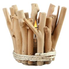 Wood Bonfire Shape Candle Holder ($19) ❤ liked on Polyvore featuring home, home decor, candles & candleholders, autumn home decor, wooden home decor, wooden candlestick holders, fall home decor and branch candle holder