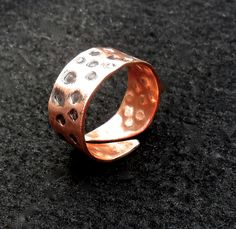Raw copper ring, textured  copper  jewelry, $18.0