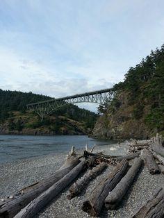 This bridge connects the peninsula to Bainbridge Island...Deception Pass. Washington State