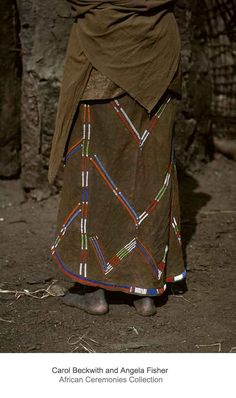 Africa | Details: Maasai woman's beaded hide skirt. | ©Carol Beckwith and Angela Fisher