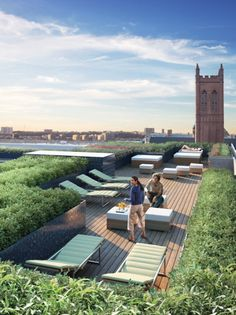 Rooftop Deck... or, plank patio in the backyard surrounded by raised herb garden.