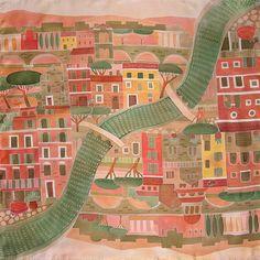 Вечный город  шелковый платок с ручной росписью батик