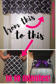 Repurpose an old curtain. It is quick and easy to make an apron with this easy, no-sew DIY apron tutorial.