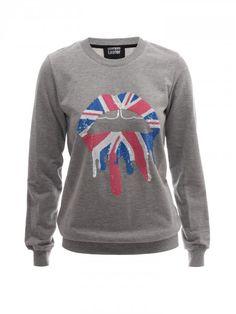 Union Jack Drip Lip Sequin Sweatshirt