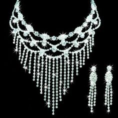 Bridal Sparkling Rhinestone Wedding Jewelry Set-(Including Necklace, Earrings)