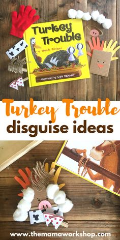 We have been reading Turkey Trouble and playing with our cardboard turkey and disguises! It is such a fun time! Make the turkey and disguises too! Thanksgiving Preschool, Fall Preschool, Thanksgiving Stories, Preschool Bulletin, Turkey Trouble, Turkey Disguise, How To Make Christmas Tree, Christmas Door, Kindergarten