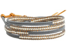 Chan Luu Graduated Silver Nuggets Wrap Bracelet w/ Light Grey Cotton Cord and Indian Sun Leather Citadel/Indian Sun - Zappos.com Free Shipping BOTH Ways