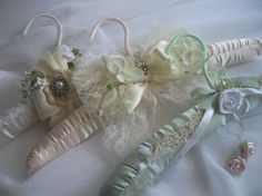 Pale Pink And Cream Wedding Gown Keepsake Hanger by handcraftusa