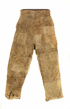 1800-1830 farm laborer's pants found stuffed up a chimney in Toft monks, Norfolk, UK. Corduroy, wool and linen. How interesting!