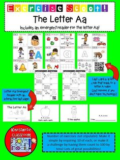 Scoot! is a fun activity where students will travel from station to station or desk to desk to solve problems. It is a great activity to get students up and moving, while still practicing on academic skills. This one is EXTRA special because it includes EXERCISE!  This set also includes an emergent reader for the letter A, and adds a math component to your language arts studies!