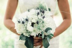 We're kicking off your long holiday weekend with this lovely, hydrangea, and sea holly #bouquet! Photographer: @iron_lace_photography | Venue: @brightfield_farm Hydrangea Bridal Bouquet, Diy Wedding Bouquet, Diy Bouquet, Wedding Dresses, Bulk Wedding Flowers, Sea Holly, Long Holiday, Cheap Flowers, Budget Wedding
