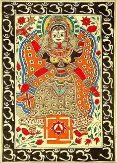 МАХАВИДЬЯ ТРИПУРА-БХАЙРАВИ    Folk Painting from the Village of Madhubani (Bihar)  Artists: Shrimati Vidya Devi and Shri Dhirendra Jha