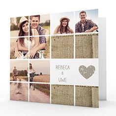 Diese schlichte Klappkarte bietet Platz für 15 eigene Fotos. Die beiden Innenseiten können mit einem persönlichen Text gestaltet werden.