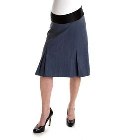 Denim Mid-Belly Maternity Pleated Skirt by Lilo Maternity #zulily