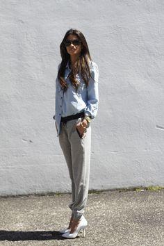 """Sweats and Heels""....#denimshirt #zarasweatpants #dressupdressdown #lulusheels #whiteheels #rayban #wayfarers #blogger #fashionblog #nyblogger #fashionroll #style"