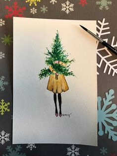 Christmas cards- # cards # christmas- # Christmas crafts - Gifts and Costume Ideas for 2020 , Christmas Celebration Diy Christmas Tree Garland, Painted Christmas Cards, Watercolor Christmas Cards, Christmas Drawing, Easy Diy Christmas Gifts, Diy Christmas Cards, Christmas Paintings, Noel Christmas, Family Christmas Gifts