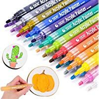 Ceramic Acrylic Paint Marker Set of 12 Colors Permanent Water Based Paint Pen for Rocks Painting Scrapbooking Craft DIY Craft Fine Point Tip 3mm-5mm Mugs,Photo Album Glass Canvas Fabric Wood