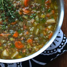 This French Lentil Soup is absolutely packed with flavor! Deliciously rich and satisfying, it& sure to become a favorite. French Lentil Soup, French Soup, French Lentils, Brown Lentils, Lentil Soup Recipes, Veggie Recipes, Vegetarian Recipes, Cooking Recipes, Healthy Recipes