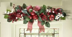 apple decorations for country kitchen | Country Red Apple and Blossoms Swag Kitchen Window or Door Decoration ...