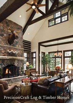 Great Room in a Custom Home Hybrid Home | PrecisionCraft Log & Timber Homes by PrecisionCraft Log Homes & Timber Frame, via Flickr