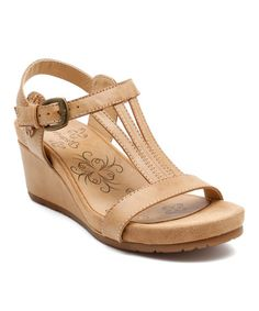 Love this Tan Wavery Wedge Sandal - Women on #zulily! #zulilyfinds