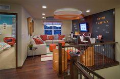 Love the teen lounge idea and the gym. They both bri. Love the teen lounge idea and the gym. They both bring everyone togethe Loft Playroom, Loft Room, Playroom Ideas, Attic Loft, Loft Design, House Design, Design Design, Graphic Design, Teen Hangout Room