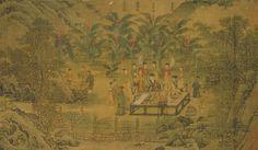 宋代.劉松年〈西園雅集〉局部,畫中眾人圍觀蘇軾寫書法。