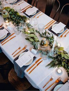 Unique wedding table settings, gold tableware and greenery, wedding centerpieces, spring wedding ideas wedding table settings Wedding Invites Paper Wedding Hire, Diy Wedding, Rustic Wedding, Wedding Reception, Wedding Flowers, Wedding Planning, Wedding Day, Spring Wedding, Wedding Tables