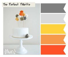 shades of gray and orange... http://www.theperfectpalette.com/2011/11/finding-your-wedding-style-can-be-piece.html