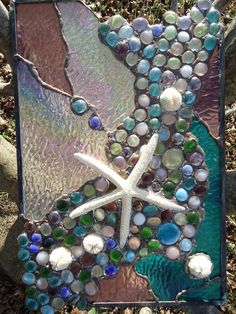 "Stained Glass Tropical Sea Beach Starfish Suncatcher Panel  Tiffany St 18""x 11"""