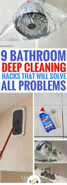 Cleaning your bathroom will never be hard again after you see these brilliant 9 bathroom deep cleaning hacks that will make it spotlessly clean. find neat little tricks to reach the hard to clean places and a few other smart hacks to clean your bathroom. Deep Cleaning Tips, House Cleaning Tips, Diy Cleaning Products, Cleaning Solutions, Household Cleaning Tips, Spring Cleaning Tips, Toilet Cleaning Tips, Kitchen Cleaning Tips, Deep Cleaning Schedule
