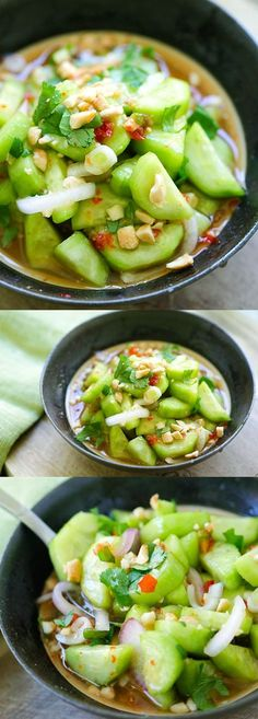 Thai Cucumber Salad – easiest and best homemade Thai cucumber salad recipe that is better than your favorite Thai restaurants, guaranteed! Thai Cucumber Salad easiest and best homemade Thai cucumber salad recipe that is. Thai Recipes, Asian Recipes, Vegetarian Recipes, Cooking Recipes, Healthy Recipes, Healthy Breakfasts, Easy Recipes, Healthy Snacks, Best Salad Recipes