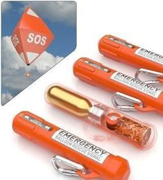 the RescueMe Balloon takes a different approach. Rather than relying on combustible chemicals that burn out after a while, the RescueMe system deploys a large helium balloon into the air. The bright orange balloon can stay aloft for up to seven days, and is outfitted with flashing LED lights for extra visibility at night.