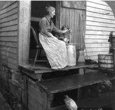 Churning butter, East Aurora, New York, 1905