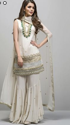 Picture of Angelic ivoire Sharara Designs, Party Dresses Online, Party Wear Dresses, Formal Dresses, Indian Designer Outfits, Designer Dresses, Indian Dresses, Indian Outfits, Pakistani Dresses Online
