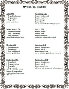 Magick Oil Recipes Created by Moonlight Musings https://www.facebook.com/pages/Moonlight-Musings/255513267917738