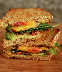 peach, bacon, avocado sandwich
