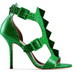 Moschino Cheapandchic High-Heeled Sandals ($180) ❤ liked on Polyvore featuring shoes, sandals, green, green sandals, round cap, leather sandals, leather sole sandals and green shoes