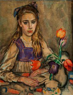 Portrait of a girl, aquarel by Jan Sluijters Dutch - was a leading pioneer of various post-impressionist movements in the Netherlands, finally settling on a colorful expressionism. Post Impressionism, Impressionist, Maurice Denis, Gauguin, Paul Cezanne, Henri Matisse, Edouard Vuillard, Dutch Painters, Dutch Artists