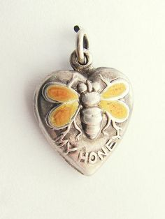Vintage Sterling Silver Enamel Bee My Honey Puffy Heart Charm