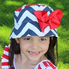 Nautical Navy/White Chevron W/Red Bow. Perfect for the Summer days and 4th of July! 100% Cotton. wiggystudio.com
