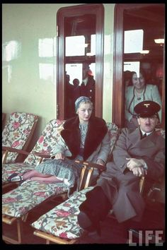 Mrs. Robert Ley and Hitler aboard the KDF Ship Robert Ley on its maiden voyage.