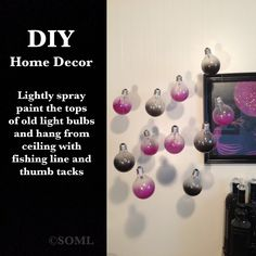 DIY Upcycle Reuse Old Light Bulbs For Home Decor Black and Purple Themed