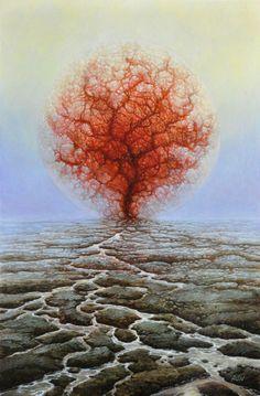 Untitled Tomasz Alen Kopera Movement surrealism Type oil on canvas Dimensions 41 x 60 [cm] / x Year : 2010 Fantasy Landscape, Fantasy Art, Art Visionnaire, Psy Art, Magic Realism, Visionary Art, Art Plastique, Surreal Art, Tree Art