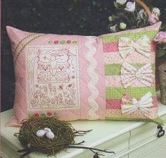 Love Birds Pattern, a lovely stitched cushion featuring ric rac, buttons and bows.