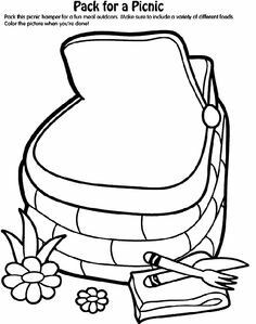 pack up the picnic basket for a fun lunch outdoors draw some food items that you would like to take along color the picture when you done