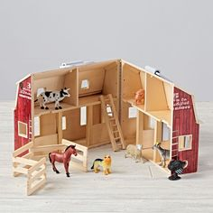 Shop Fold and Go Farmhouse.  Imagine being a farmer with the help of our Fold and Go Farmhouse.  The barn is completely assembled, so kids can simply unfold and play.  Plus, the set comes with seven friendly animals, wooden ladder and folding corral.